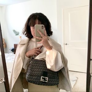 Fendi Bags - SOLD Fendi Zucchino Navy Mama Bag